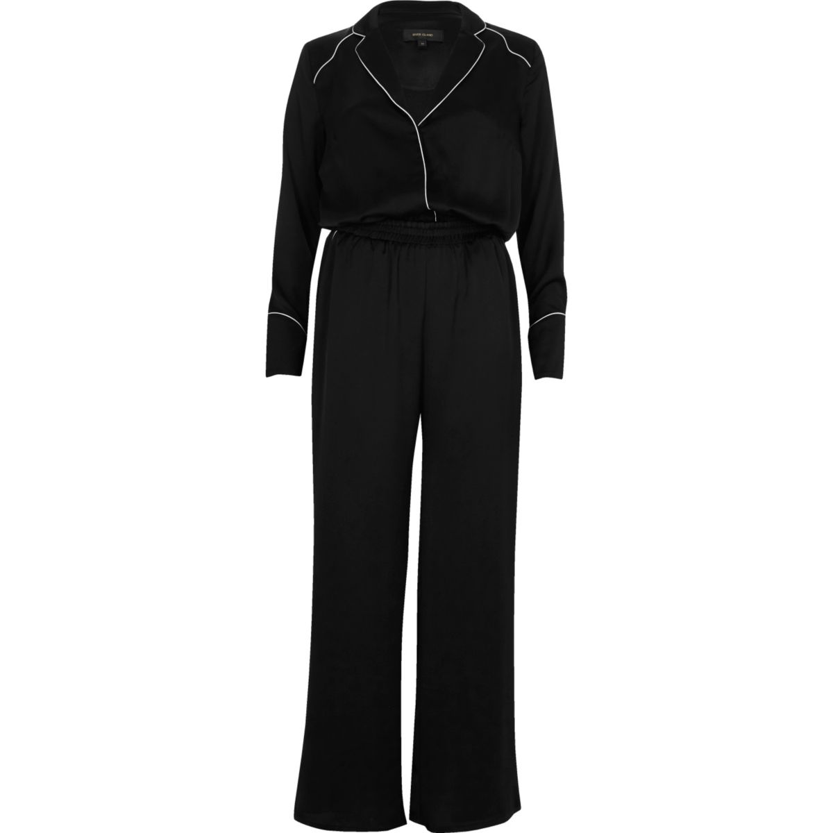 Black satin relaxed jumpsuit