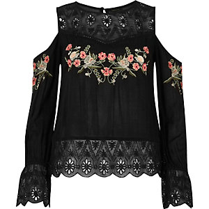Black embroidered cold shoulder top