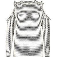 White stripe frill cold shoulder top