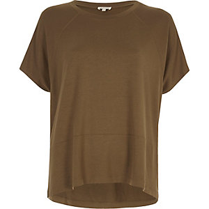 Khaki green relaxed raglan T-shirt