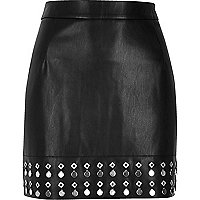 Black embellished hem leather look mini skirt