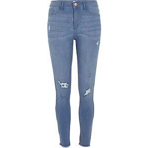 Molly – Mittelblaue Jeggings im Used-Look