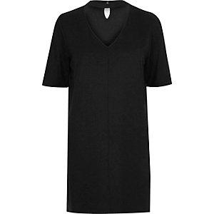 T-shirt oversize noir à tour de cou