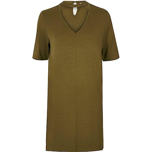 T-shirt oversize vert kaki à tour de cou