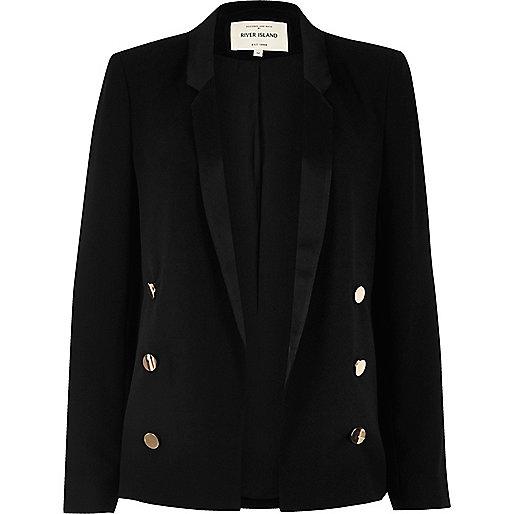 Black satin collar blazer