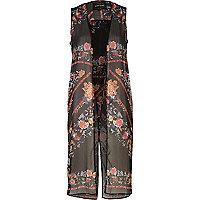Black floral print sleeveless duster coat