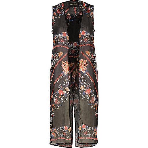 Black floral print sleeveless duster jacket