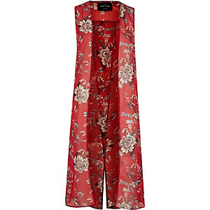 Red floral print sleeveless duster coat