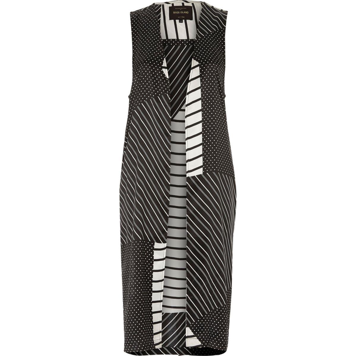Veste longue rayée noire et blanche
