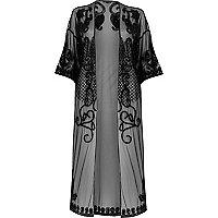 Langer Kimono aus schwarzem Netzstoff
