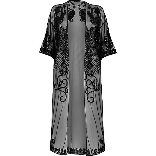 Black mesh embroidered longline kimono