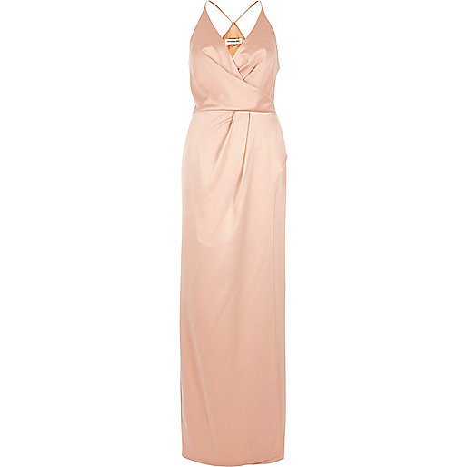 Light pink plunge slit maxi dress