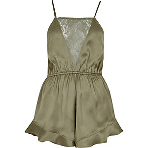 Khaki green frill lace panel playsuit