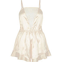 Cream frill lace panel playsuit