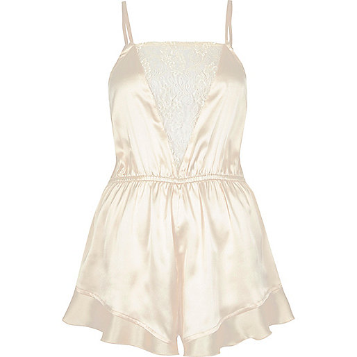 Cream frill lace panel romper