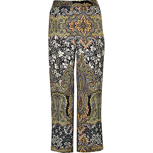 Plus green print wide leg pants
