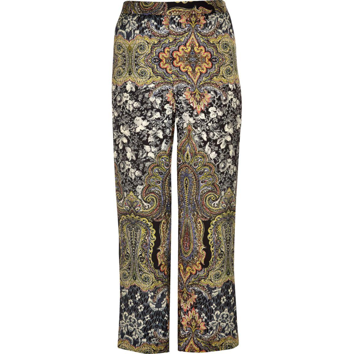 Plus green print wide leg pants