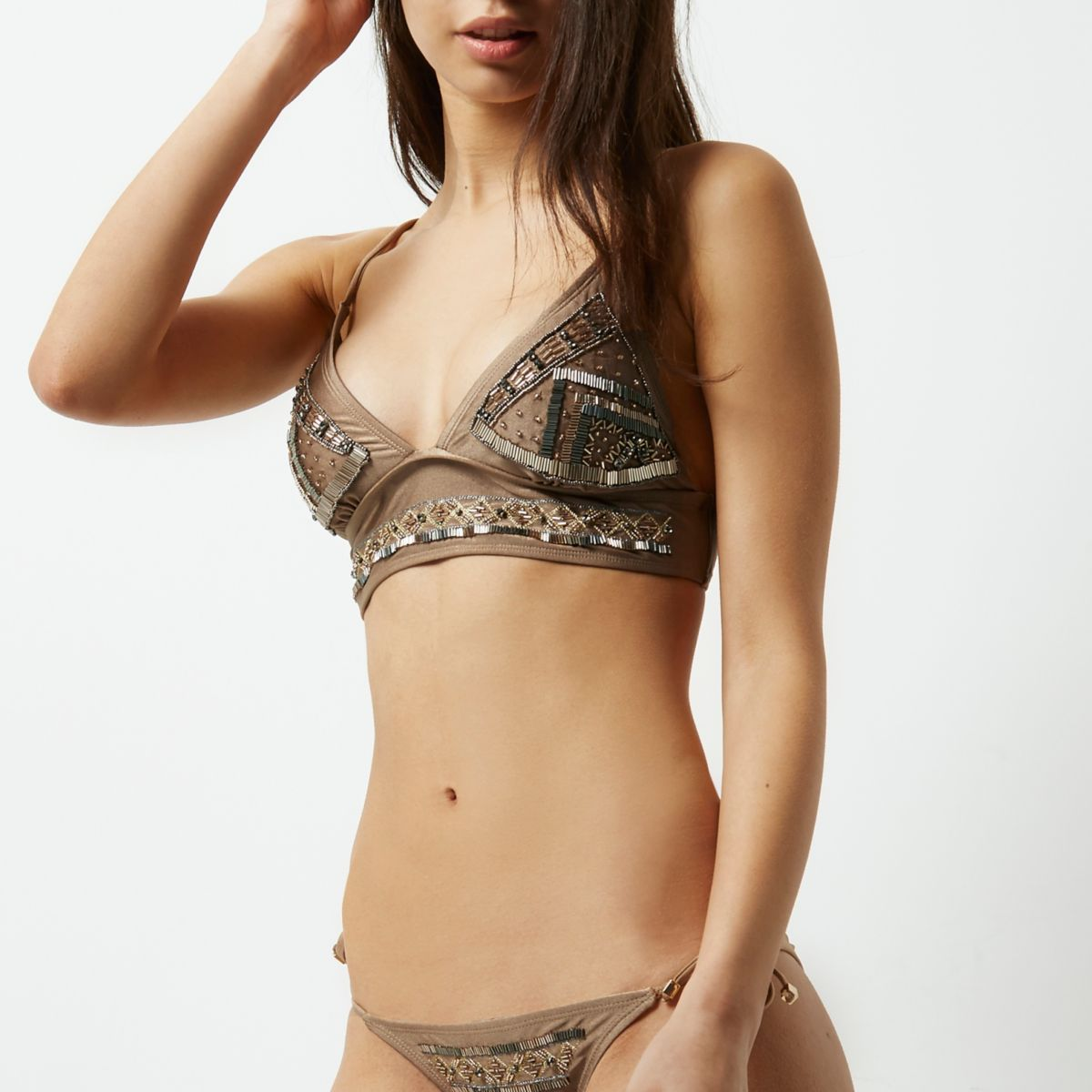 Khaki brown beaded longline bikini top