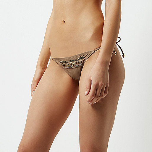 Khaki brown beaded string bikini bottoms