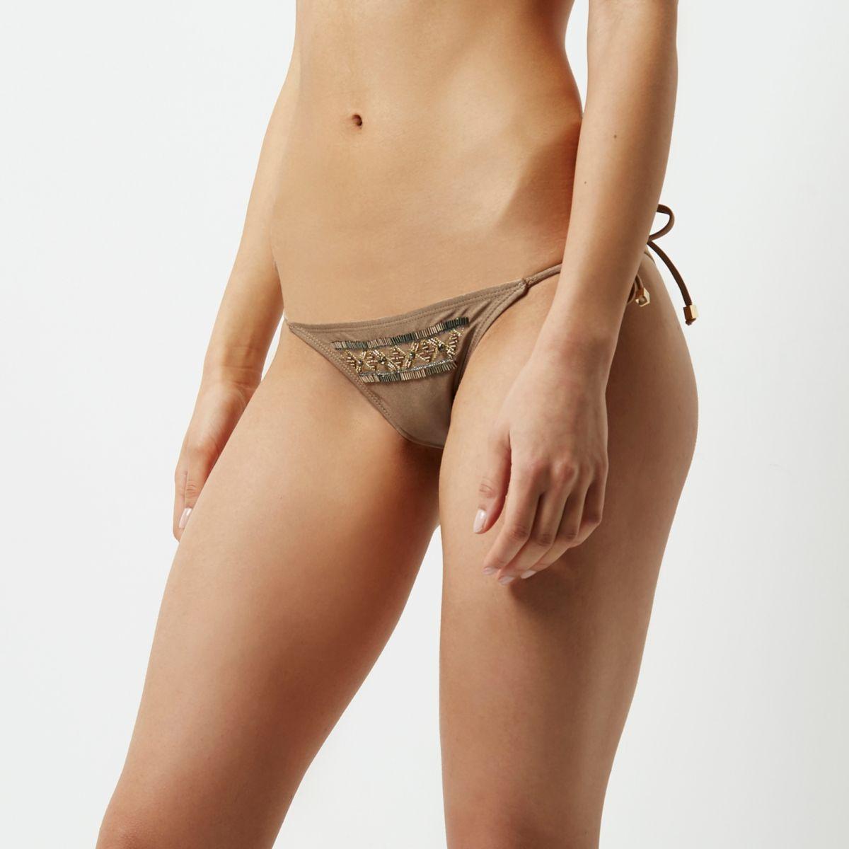 Khaki brown beaded string bikini bottoms