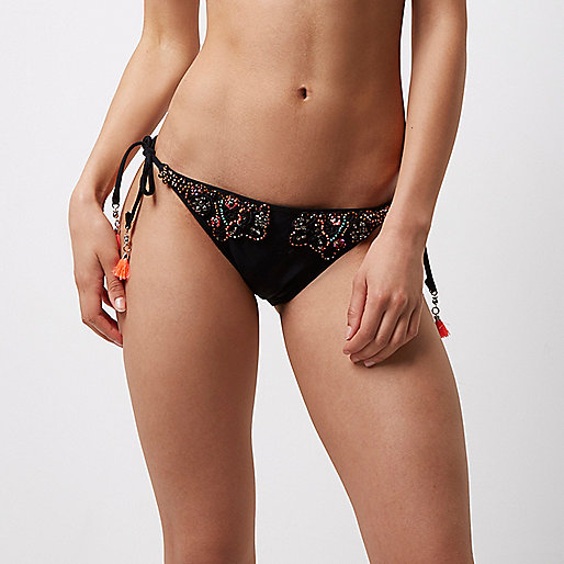 Black beaded low rise bikini bottoms