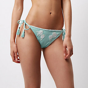 Light blue floral appliqué bikini bottoms