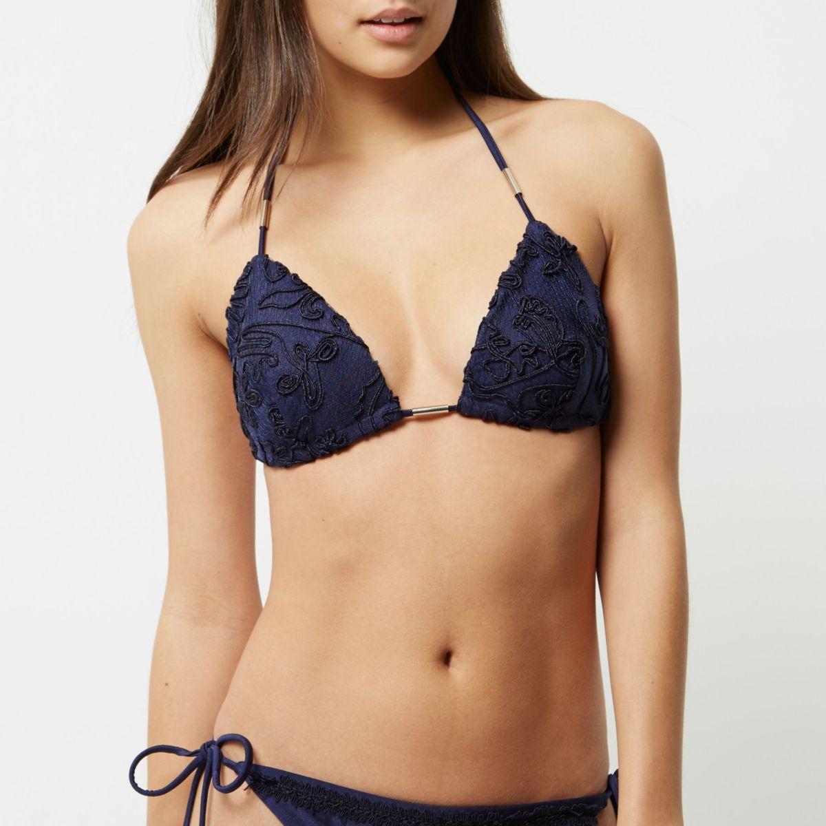 Navy cornelli embroidered string bikini top