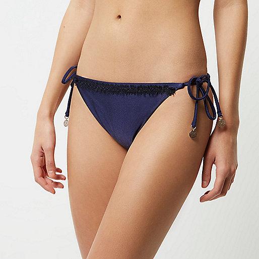 Navy cornelli string bikini bottoms