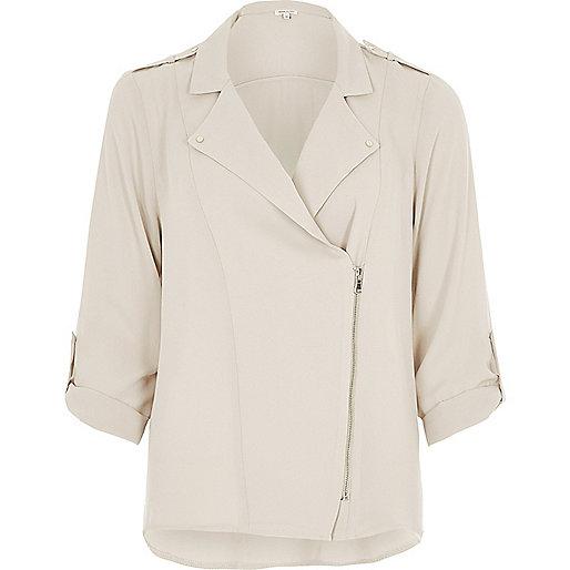 Veste-chemise crème style motard