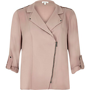 Dusty pink biker shacket