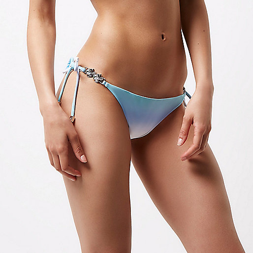 Blue fade embellished sting bikini bottoms