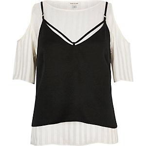 Crème schouderloos T-shirt met camitop