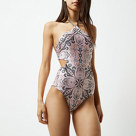 Pink scarf print cut out halter neck swimsuit