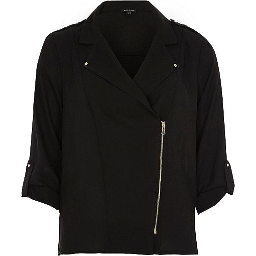 Veste-chemise noire style motard