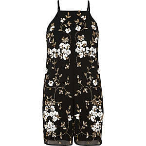 Black and gold embellished romper