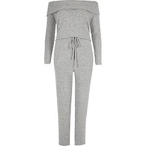 Gemêleerd grijze comfortabele jumpsuit in bardotstijl