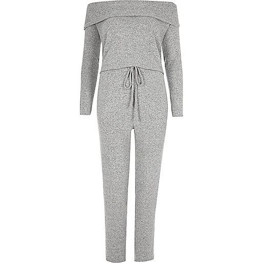 Combinaison gris chiné confortable à encolure bardot