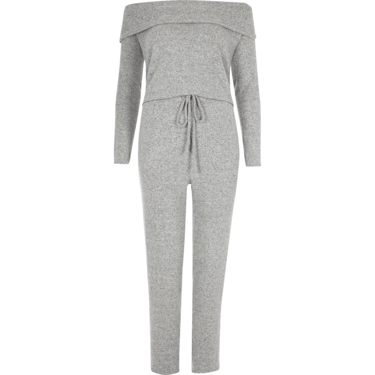 Grey marl bardot jumpsuit