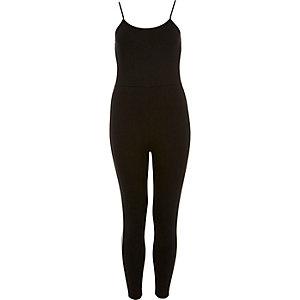 Schwarzes Jersey-Jumpsuit