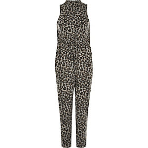 Grey animal print cosy jumpsuit