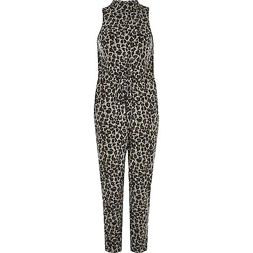 Grey animal print high neck jumpsuit