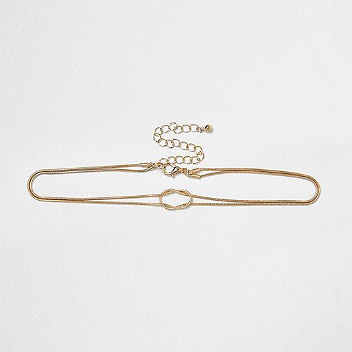 Gold tone snake chain loop choker