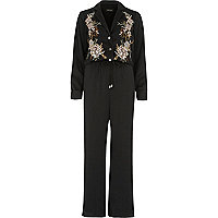 Black embroidered satin jumpsuit