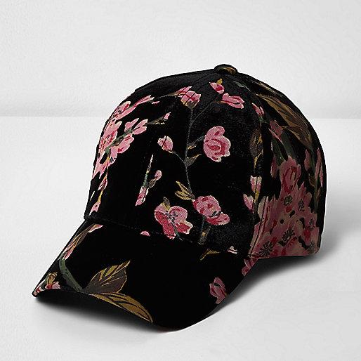 Casquette noire à imprimé roses