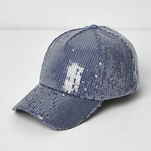 Blaue, paillettenverzierte Baseball-Kappe