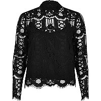 Black high neck lace blouse
