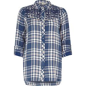 Blauw geruit geborduurd western overhemd