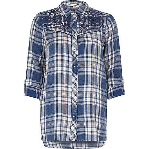 Chemise brodée à carreaux bleue style western