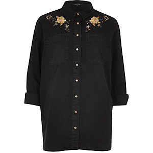 Black denim floral embroidered western shirt