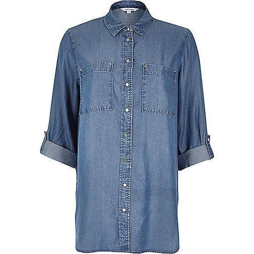 Chemise bleu clair en tencel
